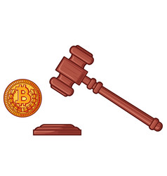 hammer of judge and bitcoin - cryptocurrency legis vector image