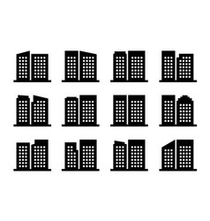 icons company and buildings set black office vector image
