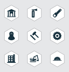 Industry icons set with sawing bulldozer milling vector