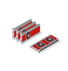 Isometric video graphic card vector
