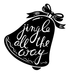 Jingle bells calligraphic hand drawn lettering vector