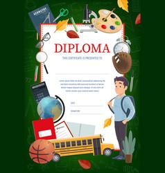 Kids education diploma certificate vector