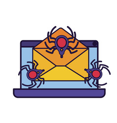 laptop screen with open letter and spider icon vector image