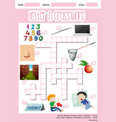 Letter n crossword concept vector