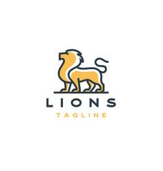 line art lion logo design template vector image