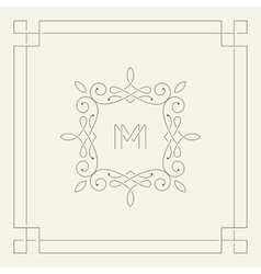 M monogram frame template vector