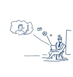 man using laptop sitting pose online communication vector image