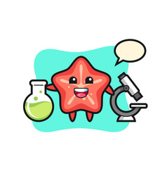 Mascot character starfish as a scientist vector
