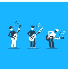 Music band playing live concert three guitarists vector image