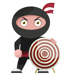 Ninja with target on white background vector