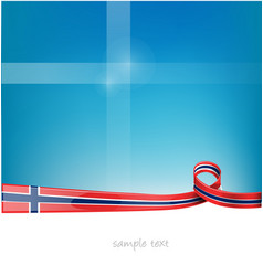 norway ribbon flag on blue sky background vector image