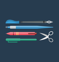 Paint and writing tools collection flat style vector