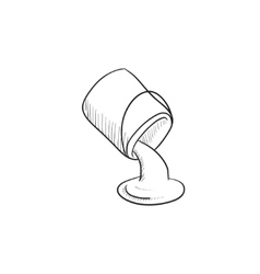 Paint pouring from bucket sketch icon vector