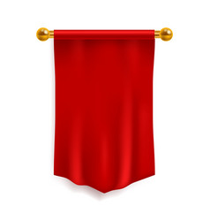 pennant red 3d realistic textile flag silk vector image