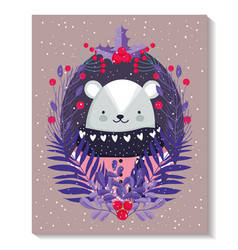 polar bear with sweater leaves foliage merry vector image