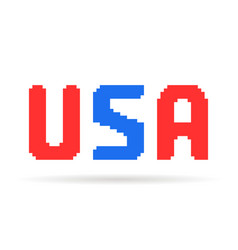 red and blue pixel art usa text vector image