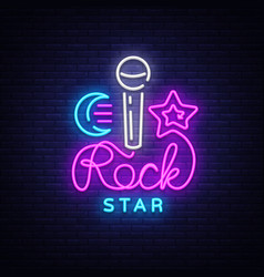 Rock star neon sign rock star logo vector