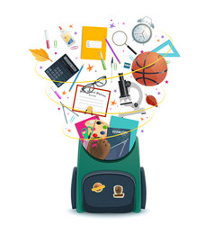 School bag or backpack with student supplies vector