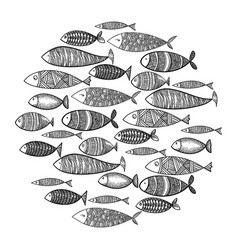 school fish a group stylized fish swimming vector image