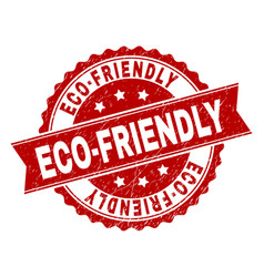 scratched textured eco-friendly stamp seal vector image