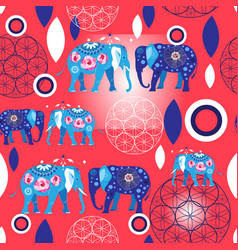 seamless bright pattern blue elephants vector image