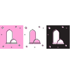 Set condoms safe sex icon isolated on pink and vector