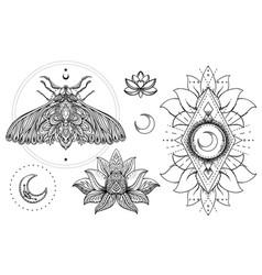 set ornamental boho chic style elements vector image