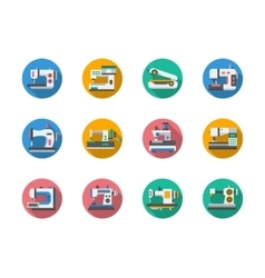 Sewing equipment round flat color icons vector image