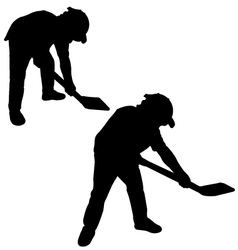 Silhouette of man with a spade vector image