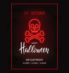skull with bones neon signhappy halloween bright vector image