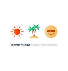 south vacation icon set season travel happy vector image