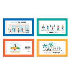 Sport and summer time recreation landing page vector