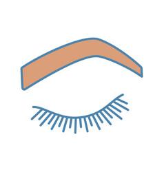 Steep arched eyebrow shape color icon vector