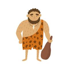 Stone age primitive man in animal hide pelt vector