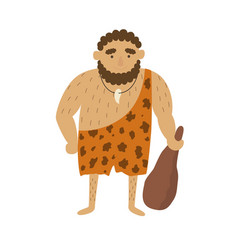 stone age primitive man in animal hide pelt with vector image