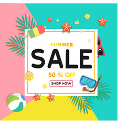 summer sale 50 off shop now ice cream starfish be vector image