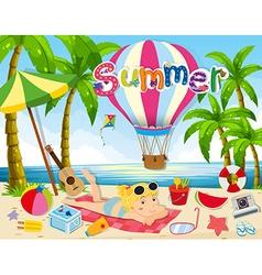 Summer theme with woman in bikini on beach vector image