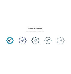 Swirly arrow icon in different style two colored vector