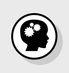 thinking head sign flat black icon in vector image