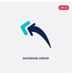 Two color backward arrow icon from arrows concept vector
