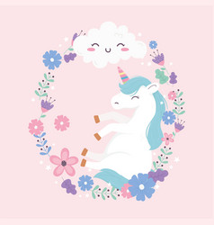 unicorn with frame flowers cloud fantasy magic vector image