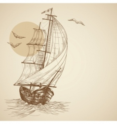 vintage sailboat vector image
