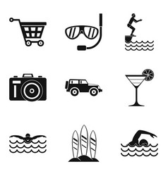 Water procedure icons set simple style vector