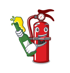 With beer fire extinguisher mascot cartoon vector
