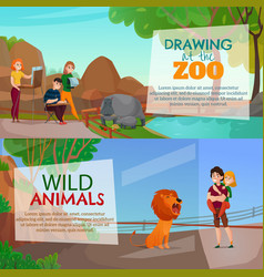 Zoo visitors horizontal banners vector
