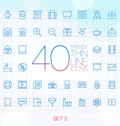 40 Trendy Thin Icons for web and mobile Set 5 vector image