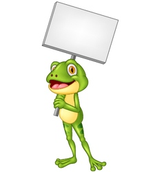 Cartoon adorable frog holding blank sign vector image vector image