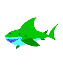 Cartoon shark flat mascot icon vector image