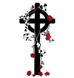 crucifix roses and ivy vector image