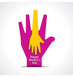 Happy mothers day with two hands of mother child vector image vector image